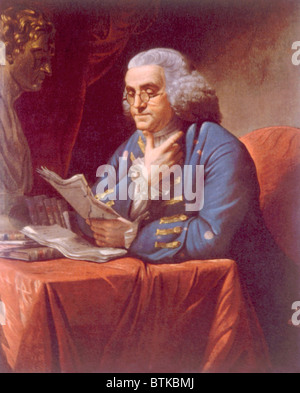 Benjamin Franklin (1706-1790), portrait by David Martin, 1767 - Stock Photo