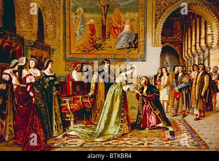 Christopher Columbus received by King Ferdinand and Queen Isabella on his arrival in chains in Spain in 1500, chromolithograph - Stock Photo