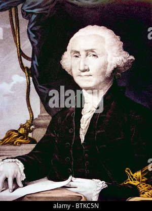 George Washington (1732-1799), U.S. President (1789-1797), lithograph by Nathaniel Currier after painting by Gilbert - Stock Photo