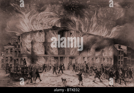 A mob set fire to the Pennsylvania Hall, the Philadelphia meeting place of the Abolition Society and women's suffrage - Stock Photo