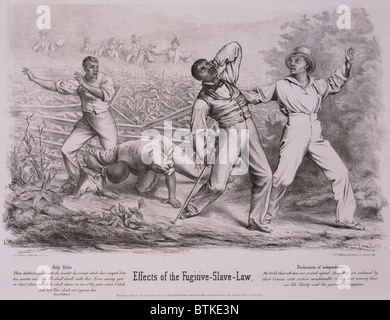 Effects of the Fugitive-Slave-Law. Four black men, possibly fugitive slaves, but also possibly free blacks, are - Stock Photo