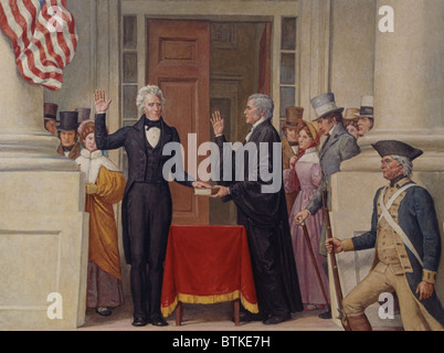 Chief Justice John Marshall (1755-1835) administering the oath of office to Andrew Jackson (1767-1845) on the east - Stock Photo