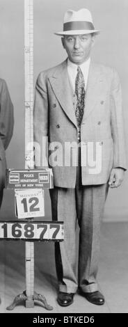 Louis 'Lepke' Buchalter (1897-1944) in New York City police mugshot of August 1939. Captured by the FBI, he was - Stock Photo