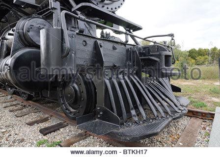 cow catcher on refurbished Canadian Railway steam locomotive - Stock Photo