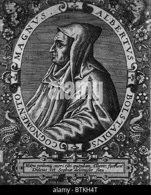 Saint Albertus Magnus (1193?-1280), German bishop and philosopher, advocated the study of nature as a legitimate - Stock Photo