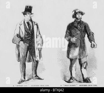 Portraits of members of the Bowery Boys gang (left) and the rival Dead Rabbits (right). Bowery Boys were nativist, - Stock Photo