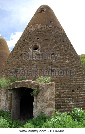 closeup view adobe block grain silo cone shaped ex hacienda Jaral de Berrios San Luis Potosi Mexico - Stock Photo