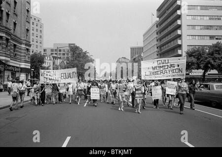Women's liberation march from Farrugut Square to Layfette Park, Washington, D.C. on August 26, 1970. The Feminist movement re-emerged from the anti-war radicalism of the 1960s.
