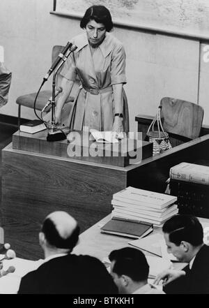 Zivia Lubetkin (1914-1976), testifying at Adolf Eichmann war crimes trial in Jerusalem. She was a leader in the - Stock Photo