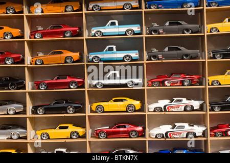 Shadowbox of diecast model cars. - Stock Photo