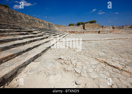 The West Court and the Theatric Area. Minoan Palace of Phaistos, Crete, Greece. - Stock Photo