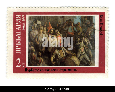 BULGARIA - CIRCA 1979: A stamp printed in BULGARIA shows paint by Boyan Petrov, 'The first socialists', circa 1979. - Stock Photo
