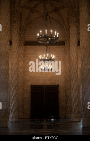 The Hall of Columns in the  Llotja de la Seda Silk Exchange Valencia Spain - Stock Photo
