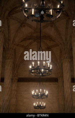 The Hall of Columns in the  Llotja de la Seda Silk Exchange Valencia Spain - Stock Photo