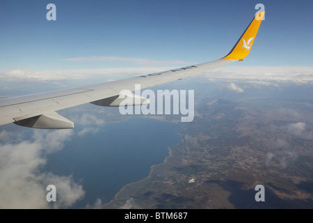 Under the wing of jet - Stock Photo