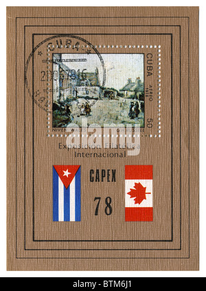 CUBA - CIRCA 1978: A stamp printed in CUBA shows paint by G.H. Russel 'Niven Wales' circa 1978. - Stock Photo