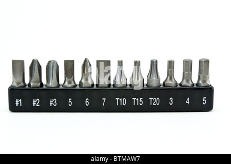 set of special nozzles for a screwdriver - Stock Photo