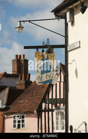 The Sign for the Angel Inn in Lavenham Suffolk - Stock Photo