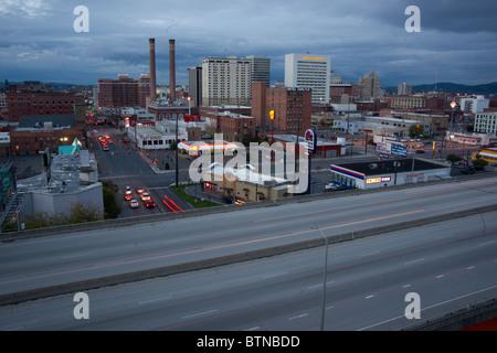 Downtown Spokane Washington at Dusk - Stock Photo