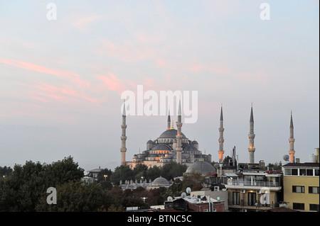 Blue Mosque (Sultan Ahmet Camii) at dawn, İstanbul, Turkey 100917 36251 - Stock Photo