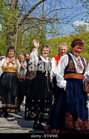Norwegian National Day celebrations at Skansen (Sweden) - Stock Photo