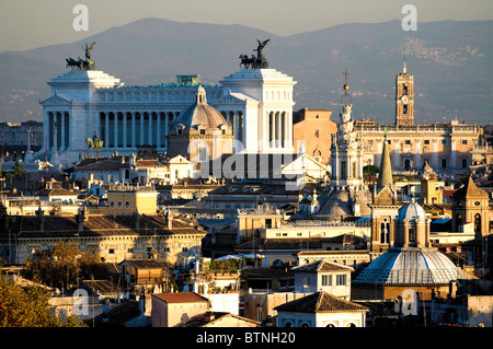 View of Rome's rooftops taken from Castel Sant'Angelo, Rome Italy - Stock Photo