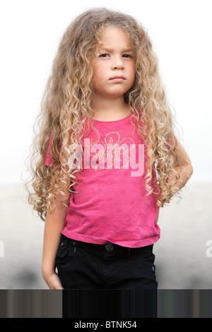 caucasian little girl portrait brat attitude isolated studio on white background - Stock Photo