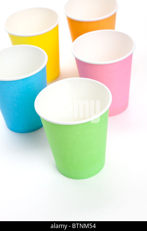 Paper Disposable Cup with white background - Stock Photo