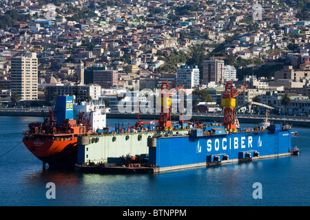 Floating dry dock in Valparaiso harbor, Chile, South America - Stock Photo
