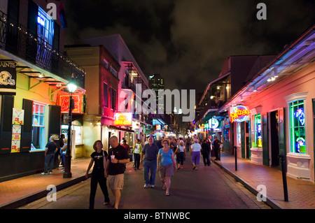 Bourbon Street at night, French Quarter, New Orleans, Lousiana, USA - Stock Photo