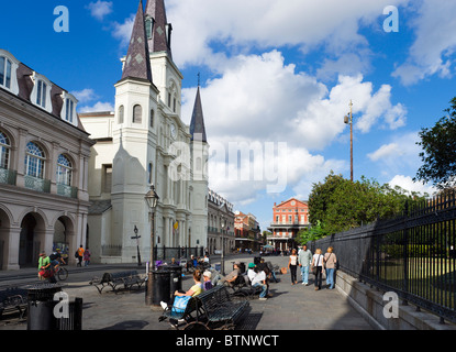 St Louis Cathedral, Jackson Square, French Quarter, New Orleans, Lousiana, USA - Stock Photo