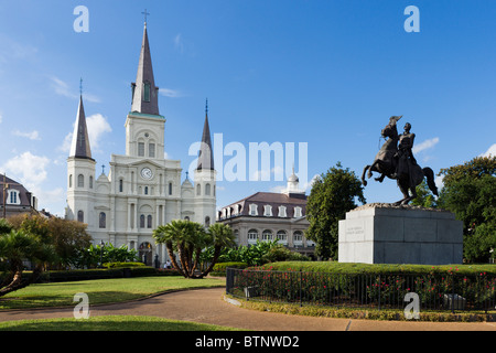 Statue of Andrew Jackson in front of St Louis Cathedral, Jackson Square, French Quarter, New Orleans, Lousiana, - Stock Photo