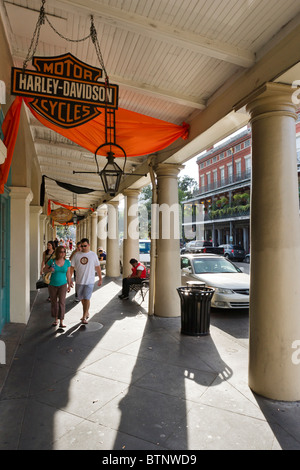 French Market District on Decatur Street, French Quarter, New Orleans, Lousiana, USA - Stock Photo
