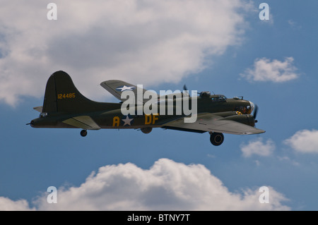 Sally B, the UK's last airworthy B-17 Flying Fortress, in flight at the Duxford Flying Legends air show, July 2010. - Stock Photo