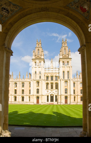Towers of All Souls College viewed through an arch, Oxford, UK - Stock Photo