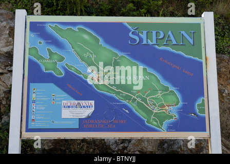 A visitor information board near the harbour of the Sudurad Village on the Sipan Island, Elafiti Islands. The Sipan - Stock Photo