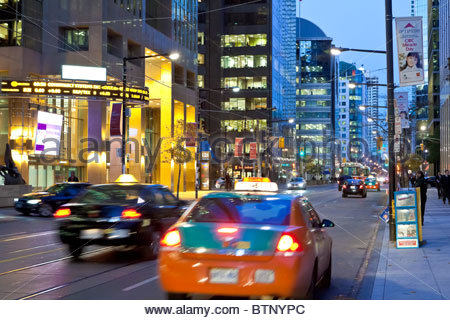 Early morning dusk on King Street in the heart of the Financial District in Toronto Ontario Canada - Stock Photo