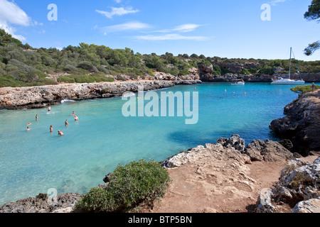 Cala Sa Nau beach. Felanitx. Mallorca Island. Spain - Stock Photo