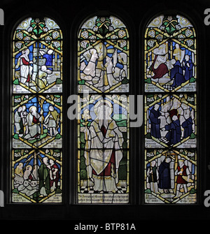A stained glass window depicting scenes from the putative life of Joseph of Arimathea - Stock Photo
