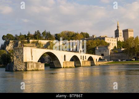 Pont St Benezet over River Rhone, Avignon, Provence, France - Stock Photo