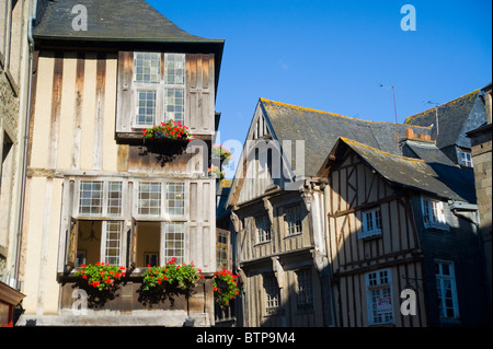 Buildings, Dinan, Brittany, France - Stock Photo