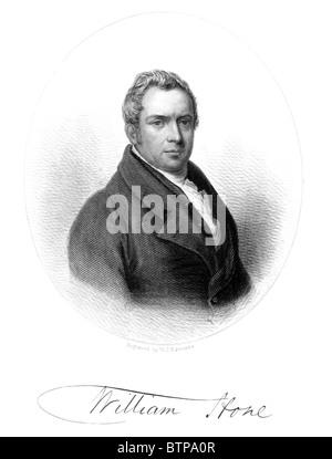 Portrait of William Hone, 19th century political satirist and writer; Black and White Illustration; - Stock Photo