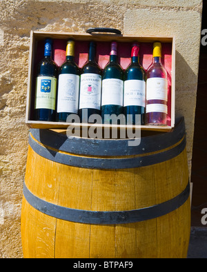 Wine Bottles, Saint Emilion, Aquitaine, France - Stock Photo