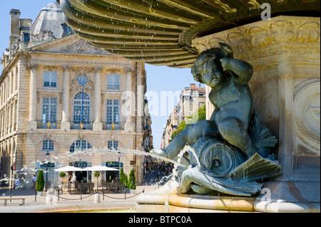 Three Graces Fountain, Place de la Bourse, Bordeaux, Gironde, France - Stock Photo