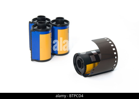 Isolated 35mm film roll in white background - Stock Photo