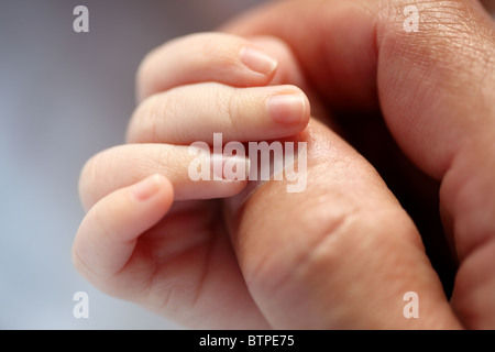 Newborn baby holding hands with his father - Stock Photo