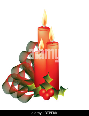 Christmas candles with holy abstract on white background - Stock Photo