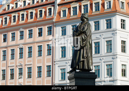 Germany, Saxony, Dresden, Luther statue in front of Frauenkirche - Stock Photo