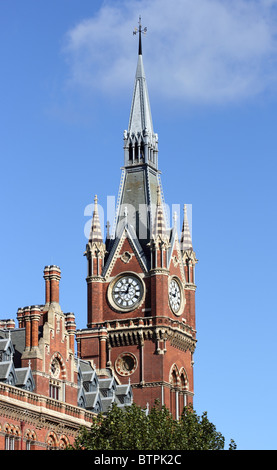 Clock tower, St Pancras railway station (London St Pancras, St Pancras International), Euston Road, London, England, - Stock Photo