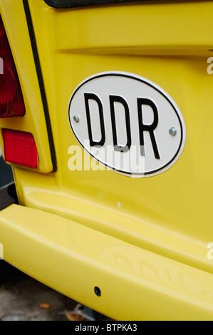 Germany, Tangermunde, DDR sign on trabant car - Stock Photo